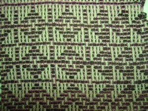 "On this section the ""dark"" weft bundle was too great a contrast to the ""dark"" thin warp - though I still like it!"