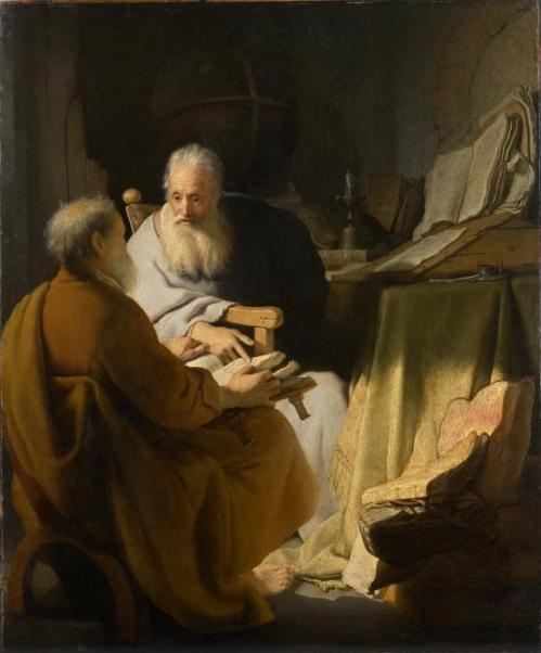 Harmenszoon van Rijn REMBRANDT Two old men disputing (1628) Image provided by National Gallery of Victoria