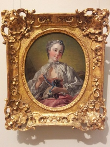 Francois Boucher A young lady holding a pug dog mid 1740s