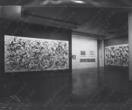 "Jackson Pollock and Lee Krasner papers, circa 1914-1984. Archives of American Art, Smithsonian Institution. Exhibitions, Museum of Modern Art 1969, undated www.aaa.si.edu/collections/container/viewer/Exhibitions-Museum-of-Modern-Art-286135My identification:  Autumn Rhythm: Number 30, 1950 on the left"" width=""500"" height=""420"" class=""size-large wp-image-7418"" /> Jackson Pollock and Lee Krasner papers, circa 1914-1984. Archives of American Art, Smithsonian Institution.Exhibitions, Museum of Modern Art 1969, undatedhttp://www.aaa.si.edu/collections/container/viewer/Exhibitions-Museum-of-Modern-Art-286135My identification:  Autumn Rhythm: Number 30, 1950 on the left"