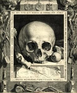 Skull and bones vanitas still life