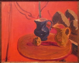 Matthew Smith Jugs against vermillion background