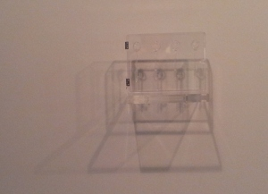 Yoko Ono Glass keys to open the skies 1967.  Four glass keys in perspex box with brass hinges