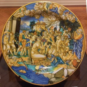 Francesco Xanto Avelli Large plate: An allegory on the sack of Rome 1530