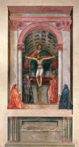 Masaccio The Holy Trinity, with the Virgin and Saint John and donors 1425   fresco  Licensed under Public domain via Wikimedia Commons - http://commons.wikimedia.org/wiki/File:Masaccio_-_Trinity_-_WGA14208.jpg#mediaviewer/File:Masaccio_-_Trinity_-_WGA14208.jpg