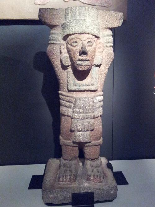 Atlantean figure Toltec, 1250 - 1521 Basalt, pigment