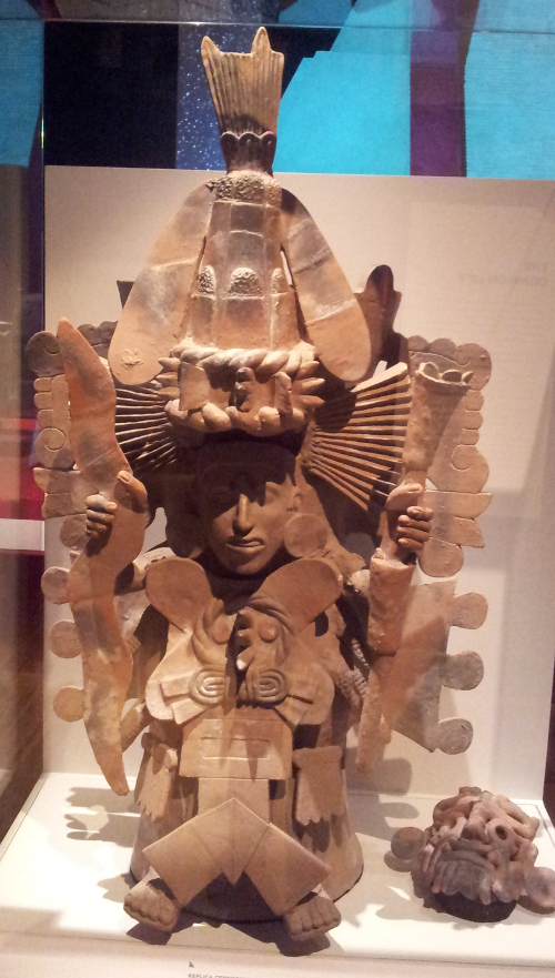 Replica ceremonial vessel of Xilonen (goddess of young corn) Based on an Aztec original of around 1500 Original made from fired clay, pigment
