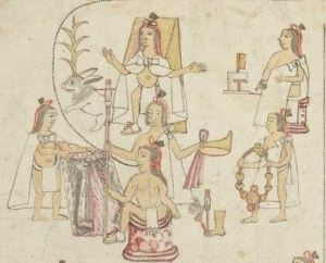 Codex azcatitlan Coronation of Tenochca Acamapichtli, receiving the crown, cloak and staff - attributes of power