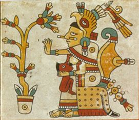 Codex Fejérváry-Mayer page 38 (detail) Xochiquetzal, fertility goddess reputed to have introduced spinning and weaving