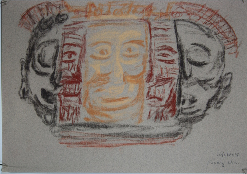 Funerary urn Seen at Australian Museum A3 Conte crayons on pastel paper 100 gsm