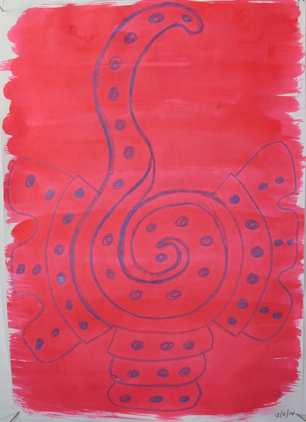 A3 cartidge paper School house motif drawn in crayon, red ink brushed over.