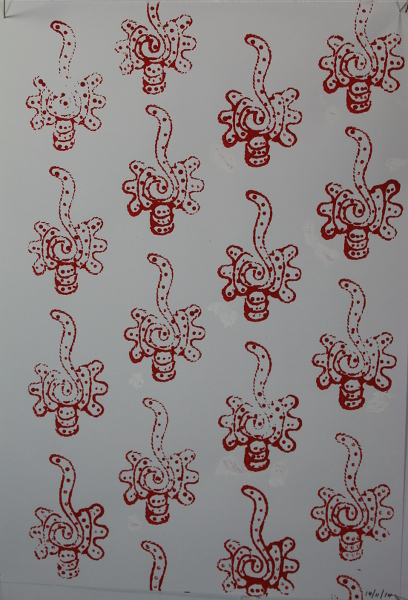 A4 cartridge paper stamped with red acrylic paint