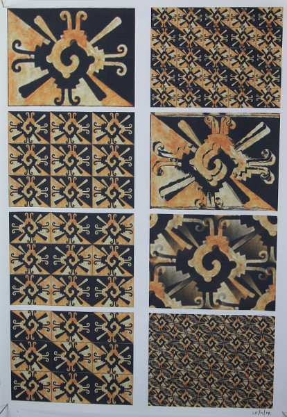 A3 printout of patterns based on a design in the Codex Magliabechiano