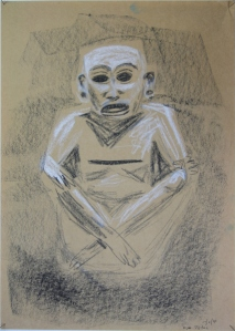 Xipe Totec A3 black and white conte crayon on kraft paper