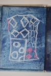 Conte crayons. Plan for indigo blouse. Fast bold lines show well