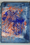 Reading Ruth Issett & got enthused. Monoprinting in acrylic, marks from grouting tools & bubblewrap. Lost the indigo