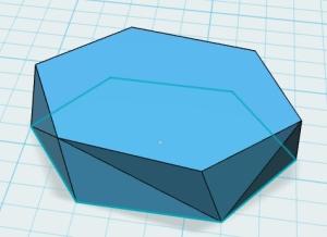 Hexagon, extruded, tweaked