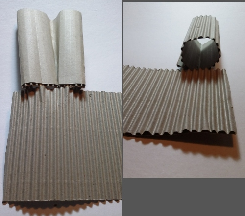 Sample p2-2c, d Cardboard join - fold and roll variations