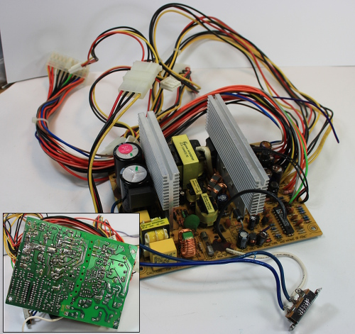 Sample p2-75 Power supply, with inset showing reverse side