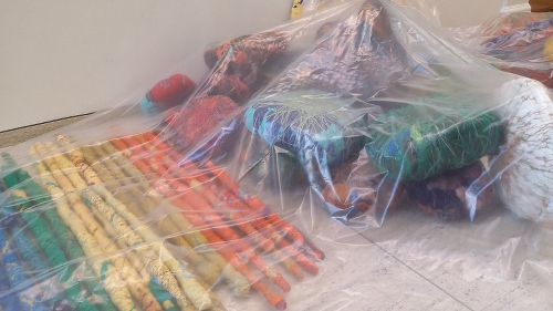 Sheila Hicks Installation in progress