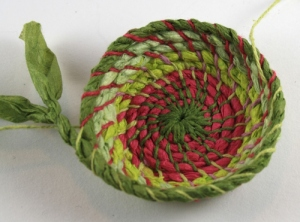 Coiled paper basket begun