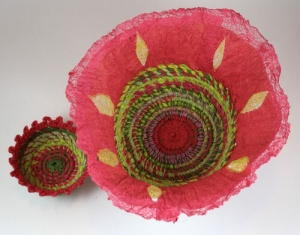 Coiled baskets, crochet and felted paper rims