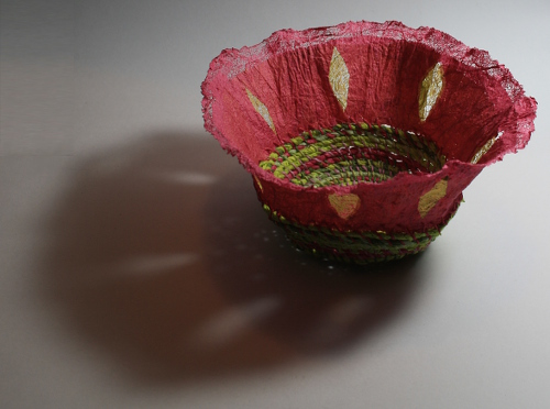 Coiled mulberry paper basket with felted paper rim