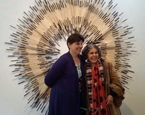Tracey Deep and Slavica Zivkovic (gallery manager) in front of Shadow song