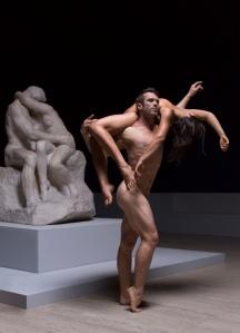 David Mack, Marlo Benjamin and Rodin's The Kiss. Photo: Pedro Greig