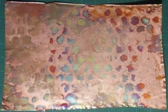 Sample I. Copper shim. Gel flux stamped pattern. Quick bursts.
