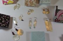 JCJ mother of pearl gaming piece earrings